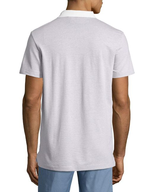 Theory | Blue Sandhurst Dotted-stripe Polo Shirt for Men | Lyst