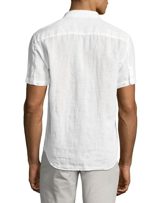 Theory | White Clark Instrumental Linen Short-sleeve Shirt for Men | Lyst