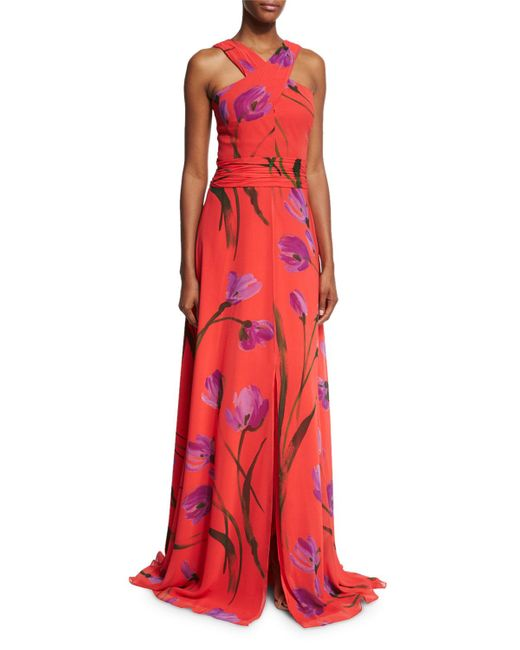 David Meister | Red Cross-front Floral Chiffon Gown | Lyst
