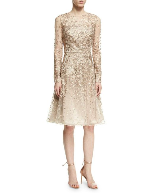 David Meister | Natural Long-sleeve Lace Cocktail Dress | Lyst