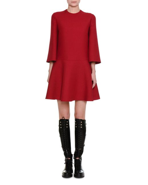Valentino | Red 3/4-sleeve Crepe Couture A-line Dress | Lyst