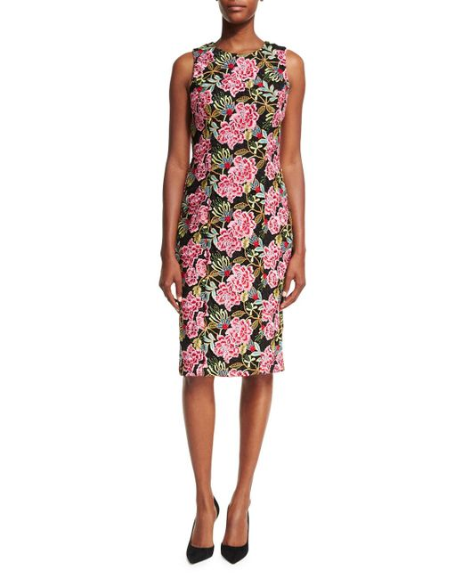 Badgley mischka sleeveless floral embroidered cocktail