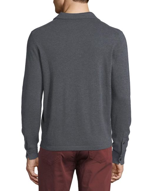 Neiman Marcus | Gray Cashmere Long-sleeve Polo Sweater for Men | Lyst