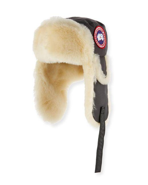 Canada Goose   Gray Shearling Fur Pilot Hat for Men   Lyst