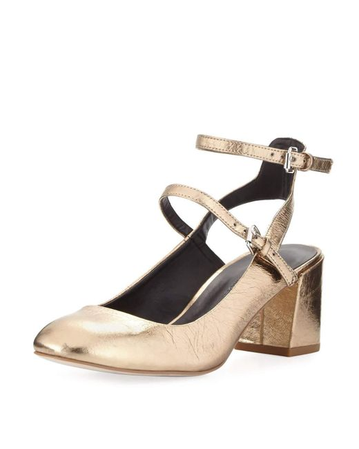 Rebecca Minkoff | Brooke Metallic Leather Chunky Heel Pump | Lyst