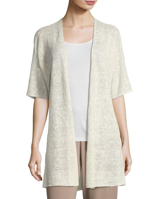Eileen Fisher | Multicolor Half-sleeve Sheer Long Cardigan | Lyst