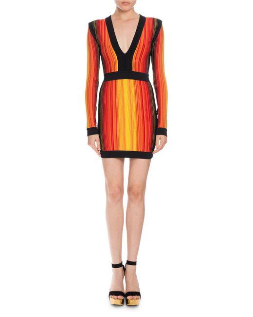 Balmain | Red Striped V-neck Long-sleeve Mini Dress | Lyst