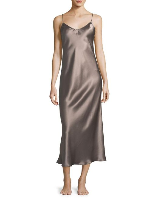 Meng | Natural Sleeveless Long Silk Nightgown | Lyst