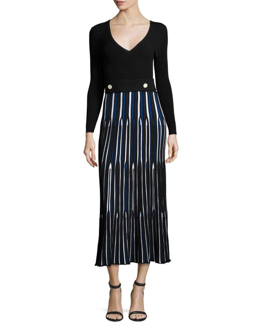 Derek Lam | Blue Long-sleeve V-neck Pleated Dress | Lyst