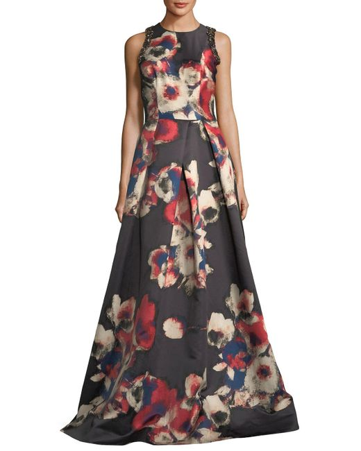 David Meister | Black Sleeveless Floral-printed Evening Gown W/ Jewel Embellishments | Lyst
