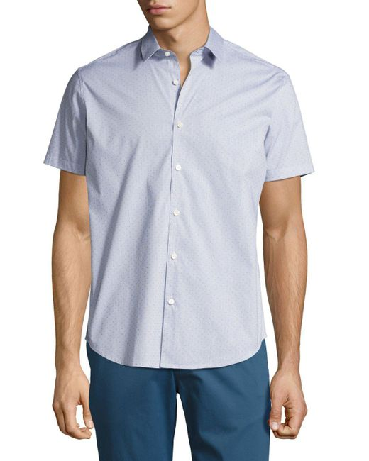 Theory | Blue Zack S. Grid Dobby Short-sleeve Shirt for Men | Lyst