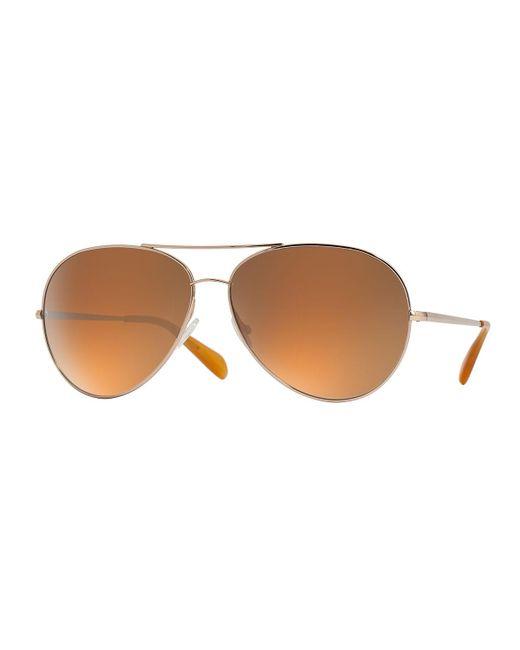 Oliver Peoples | Metallic Sayer Oversized Mirrored Aviator Sunglasses | Lyst