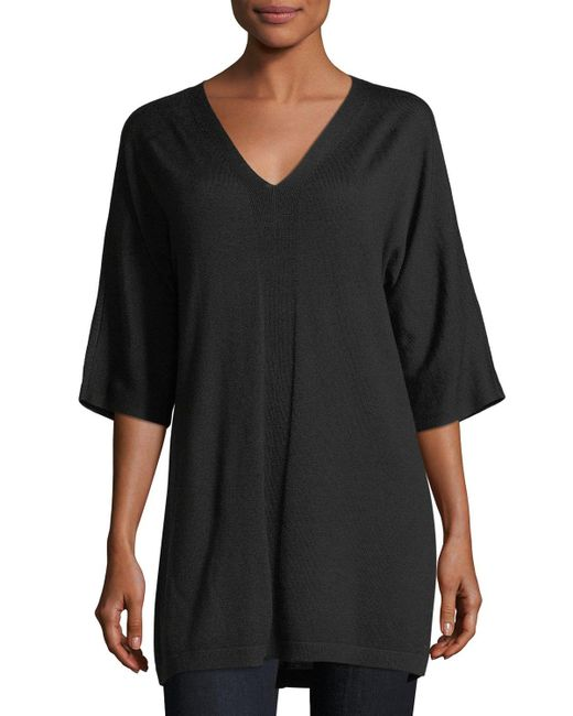 Eileen Fisher - Red V-neck Merino Jersey Tunic - Lyst