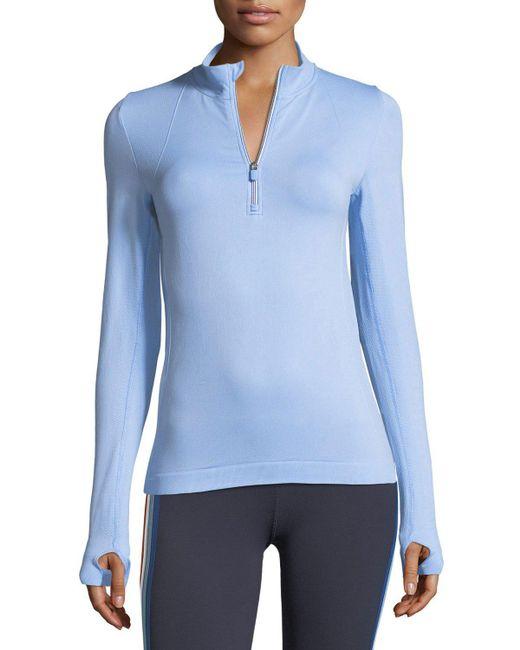 Tory Sport | Blue Seamless Quarter-zip Long-sleeve Pullover Top | Lyst