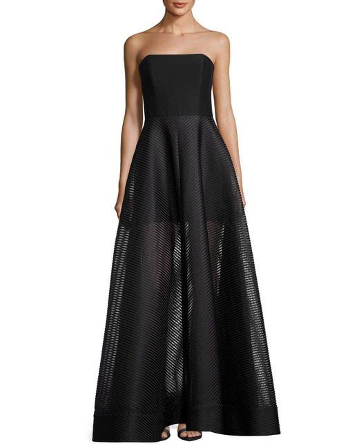 Halston Heritage   Black Strapless Evening Gown W/ Sheer Striped Skirt   Lyst