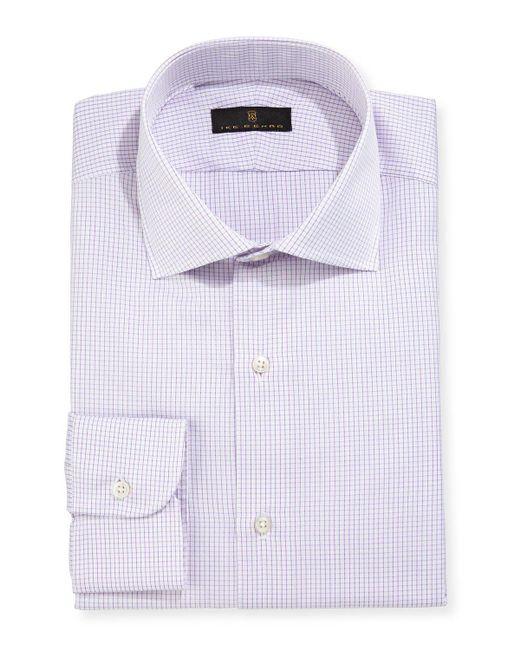 Ike Behar | Purple Gold Label Micro-gingham Dress Shirt for Men | Lyst