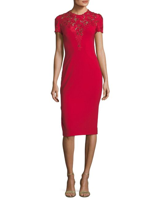 Jenny Packham - Red Jewel-neck Short-sleeve Crepe Cocktail Dress With Lace - Lyst