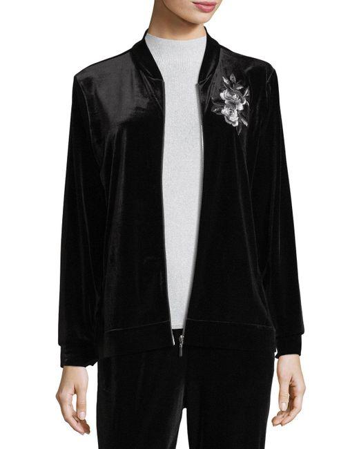 Joan Vass - Black Embroidered Velvet Jacket - Lyst