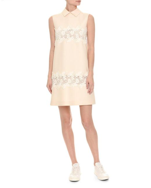 Valentino | White Sleeveless Lace-trim Crepe Couture Dress | Lyst