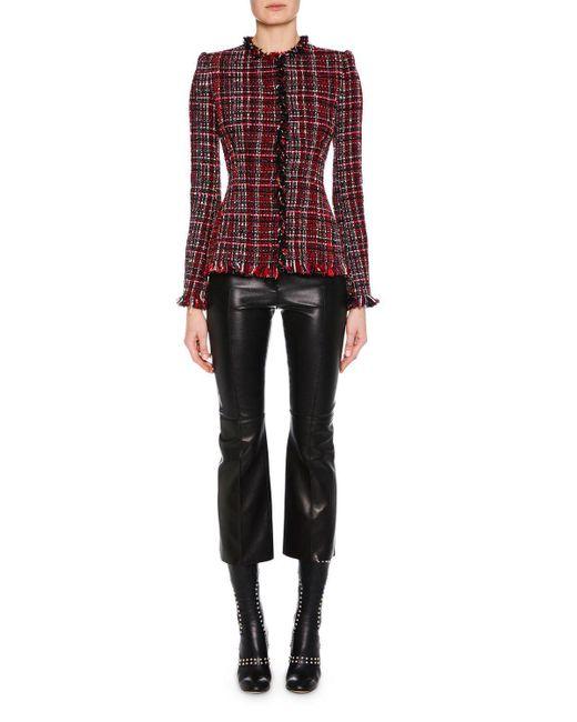 Alexander McQueen - Black Jewel-neck Artisan-tweed Fitted Classic Jacket - Lyst