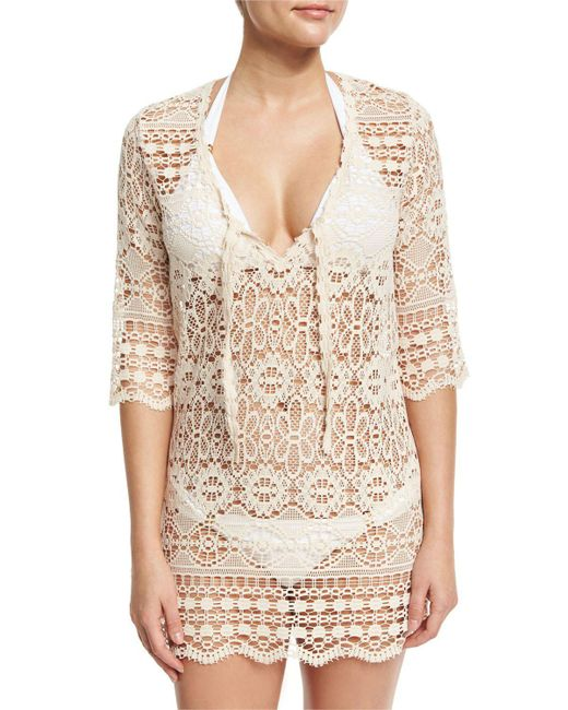 Queen & Pawn | White Juno Crocheted Lace V-neck Coverup Dress/tunic | Lyst