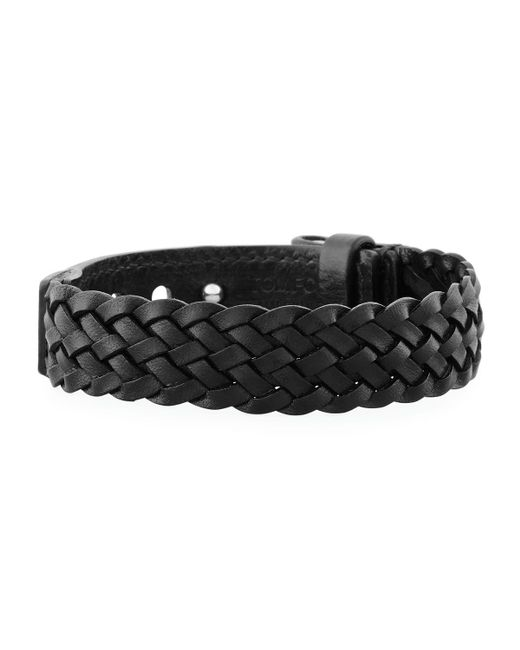 Tom Ford | Brown Men's Braided Calf Leather T-buckle Bracelet for Men | Lyst