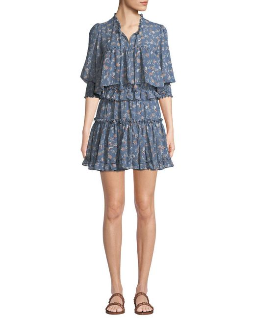 MISA - Blue Cereen Floral Ruffle Popover Short Dress - Lyst