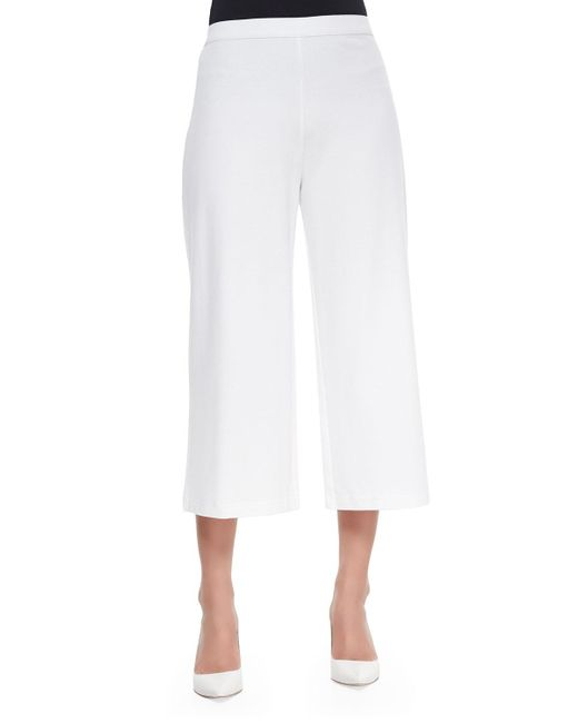 Joan Vass | White Knit Cropped Wide-leg Pants | Lyst