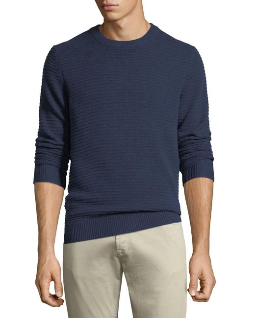 Neiman Marcus - Blue Men's Ribbed Cashmere Pullover Sweater for Men - Lyst