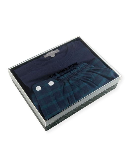 Neiman Marcus - Blue Two-piece Plaid Pajama Gift Set for Men - Lyst