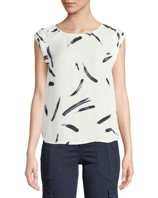 Joie - White Tristessa Printed Cap-sleeve Top - Lyst