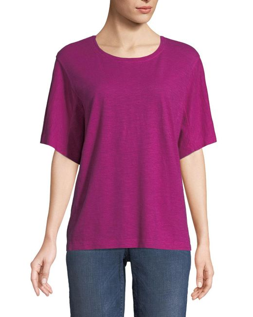 Eileen Fisher - Gray Short-sleeve Hemp-cotton Twist Top - Lyst