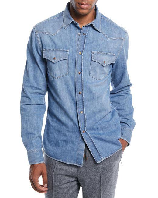 d55dc084a28 Lyst - Brunello Cucinelli Men s Denim Western Shirt in Blue for Men