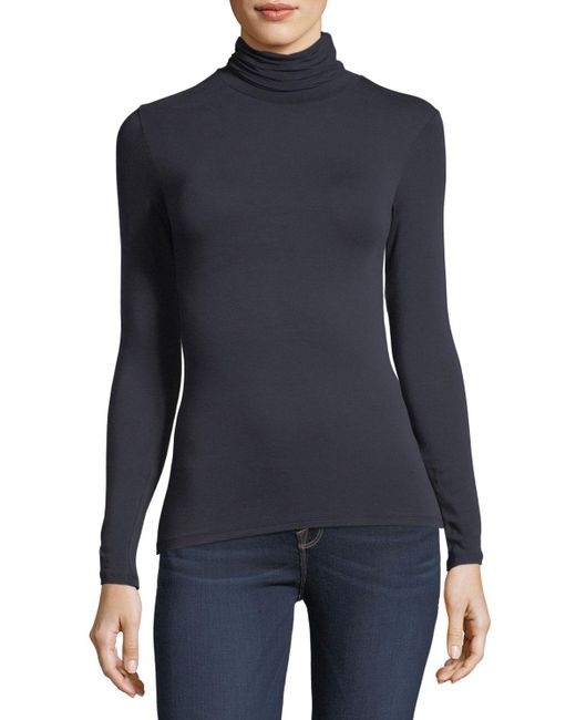 Neiman Marcus - Black Soft Touch Long-sleeve Turtleneck - Lyst