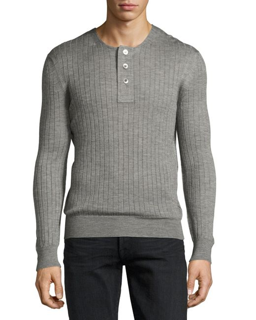 Tom Ford | Gray Lightweight Cashmere-silk Ribbed Henley for Men | Lyst