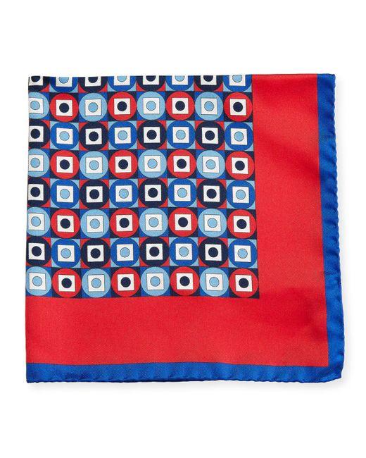 Kiton | Red Geometric Printed Silk Pocket Square for Men | Lyst