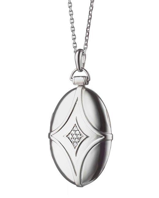 Monica Rich Kosann - Metallic Silver & White Sapphire Petite Bridal Locket Necklace - Lyst