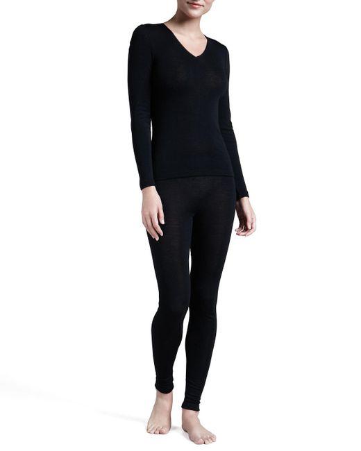 Hanro   Black Silk-blend Leggings   Lyst