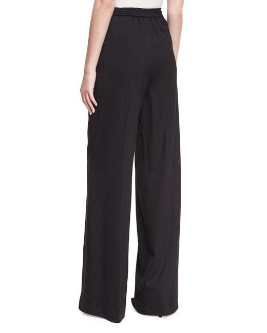 Etro - Black Largo Wool High-waist Wide-leg Pants - Lyst