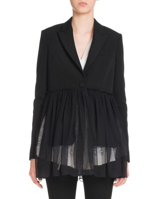 Givenchy   Black Pleated-chiffon One-button Jacket   Lyst