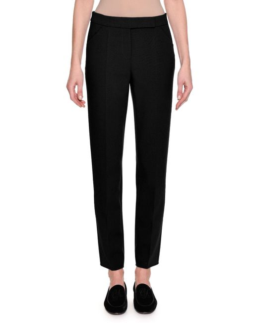 Giorgio Armani | Black Stretch Wool Slim-leg Pants | Lyst