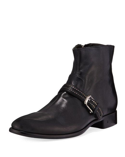 John Varvatos - Black Eldridge Buckled-vamp Leather Boot for Men - Lyst