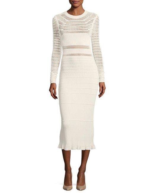 Narciso Rodriguez - White Round-neck Long-sleeve Open-weave Knit Midi Dress - Lyst