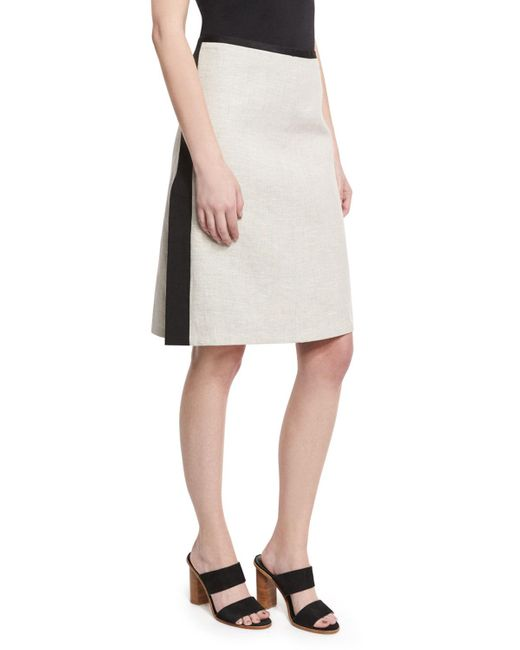 Narciso Rodriguez | Black Striped Slit A-line Skirt | Lyst