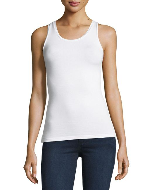 Neiman Marcus - Blue Soft Touch Scoop-neck Tank - Lyst