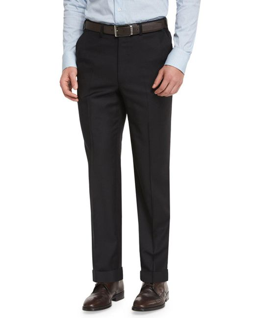Brioni - Phi Flat-front Wool Trousers Black for Men - Lyst