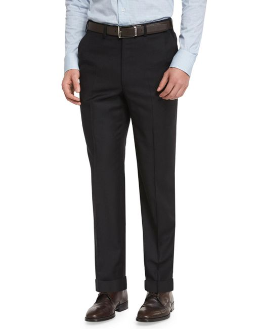 Brioni - Black Phi Flat-front Wool Trousers for Men - Lyst