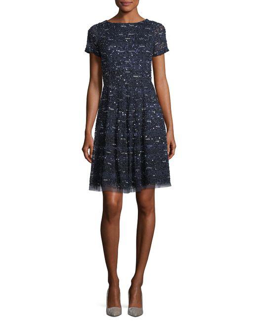 Aidan Mattox   Blue Short-sleeve Sequined Cocktail Dress   Lyst