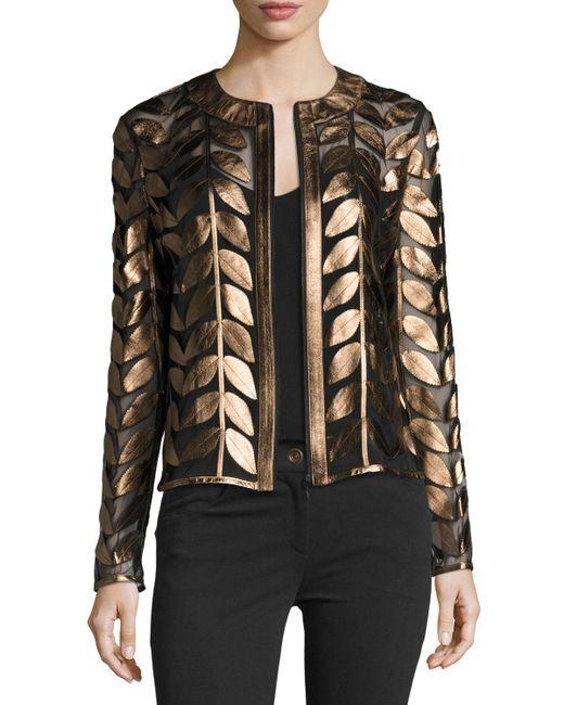 Neiman Marcus - Multicolor Metallic Leather Leaf & Mesh Combo Jacket - Lyst