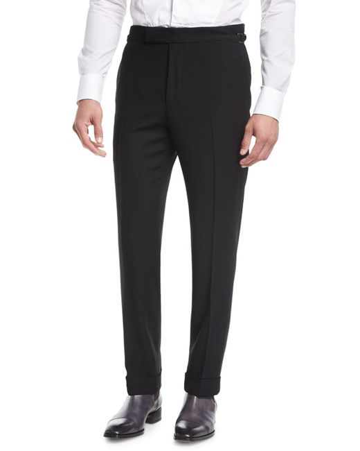 Tom Ford - Black O'connor Base Twill Flat-front Trousers for Men - Lyst